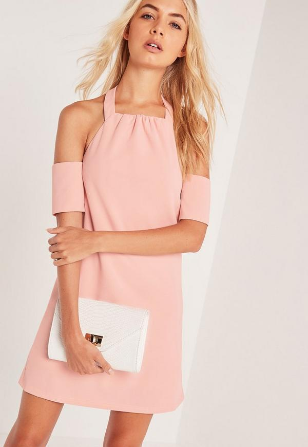 Halterneck Cold Shoulder Swing Dress Pink