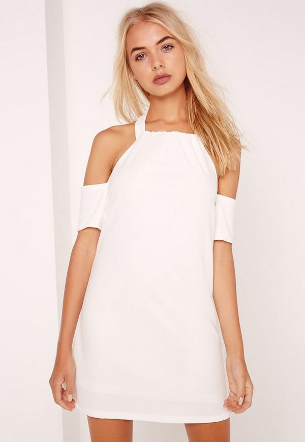 Halterneck Cold Shoulder Swing Dress White