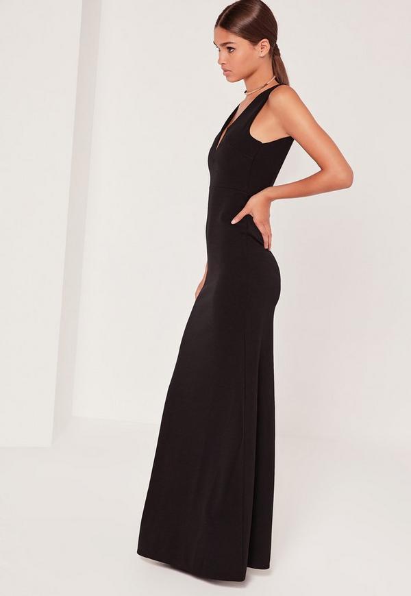 Plunge V Maxi Dress Black