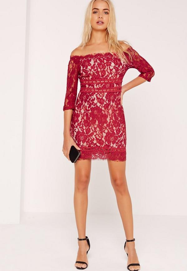 Lace Bardot Bodycon Dress Burgundy