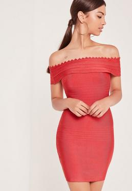 Premium Bandage Bardot Bodycon Dress Red
