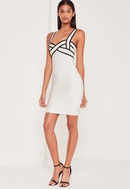 Premium Bandage Contrast Bodycon Dress White