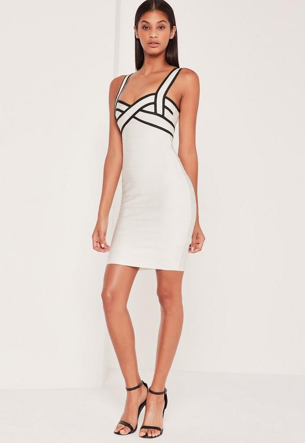 Premium Bandage Contrast Bodycon Dress White