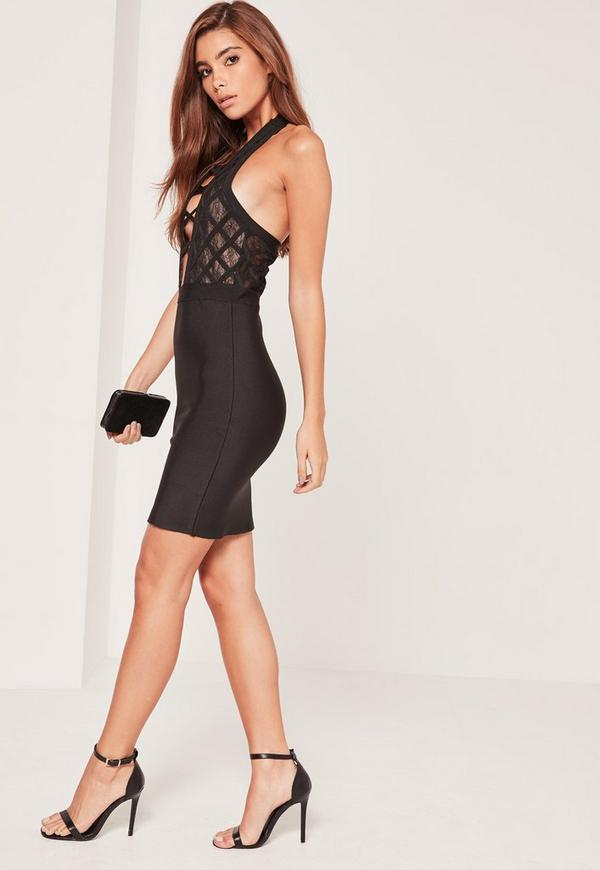 Premium Bandage Criss Cross Halterneck Bodycon Dress Black