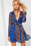 Blue Printed Silky Plunge Wrap Shift Dress