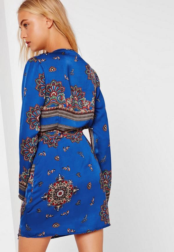 afb27479503e ... Blue Printed Silky Plunge Wrap Shift Dress. Previous Next