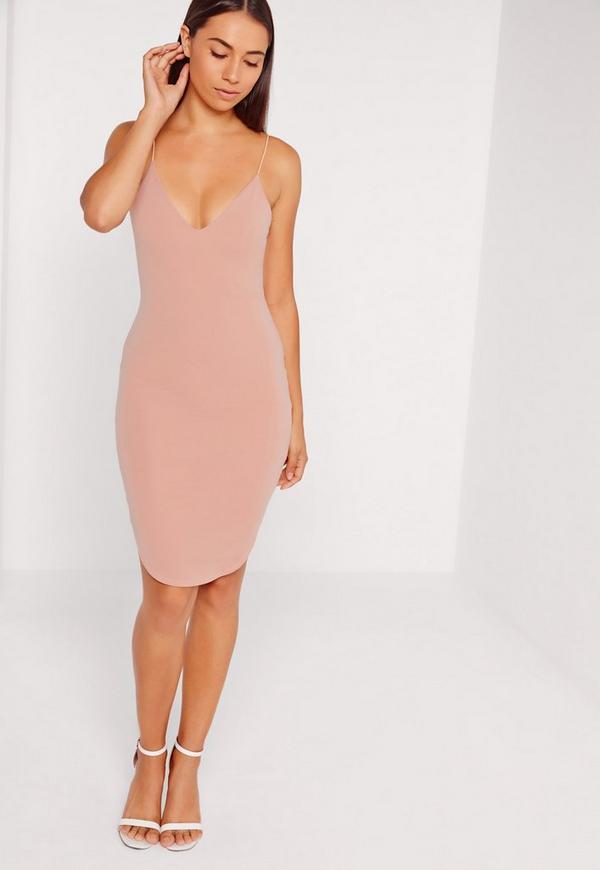 Pink Strappy Curve Hem Midi Dress