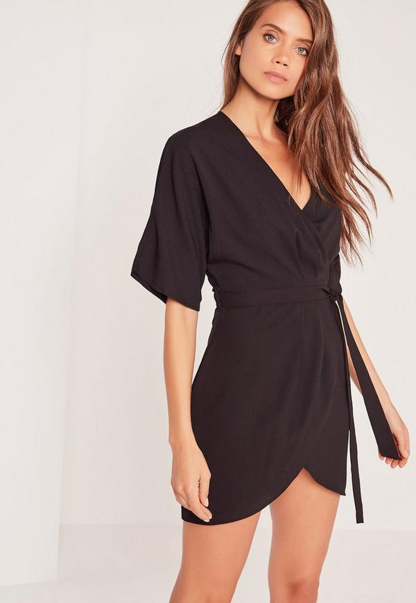 Kimono Wrap Over Belted Mini Dress Black