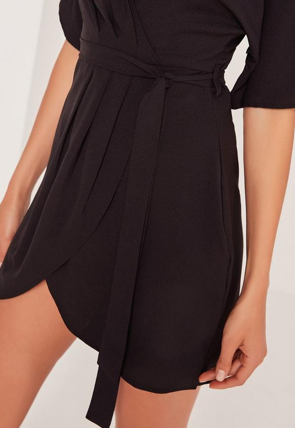 Kimono Wrap Over Belted Mini Dress Black Missguided