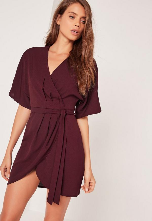 Kimono Wrap Over Belted Mini Dress Burgundy