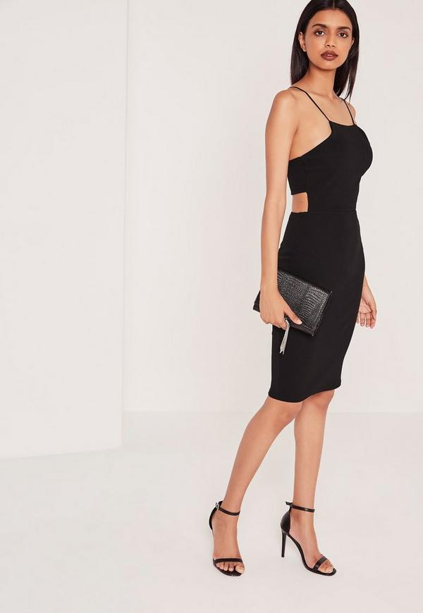 Crepe Strappy Cut Out Back Midi Dress Black