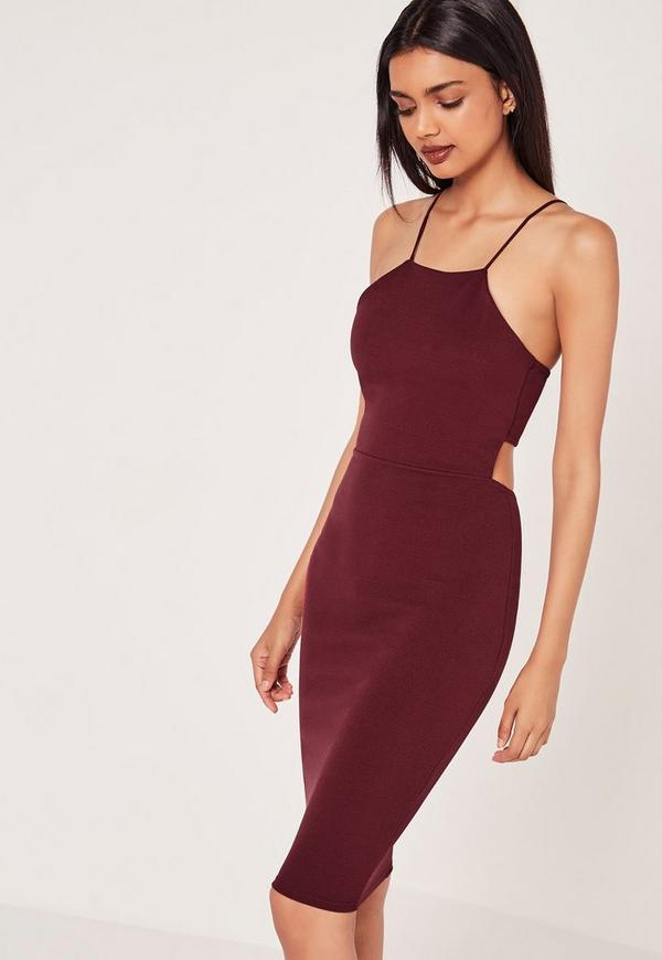 Crepe Strappy Cut Out Back Midi Dress Burgundy