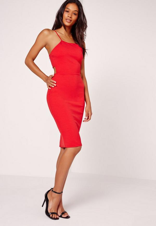 Crepe Strappy Cut Out Back Midi Dress Red