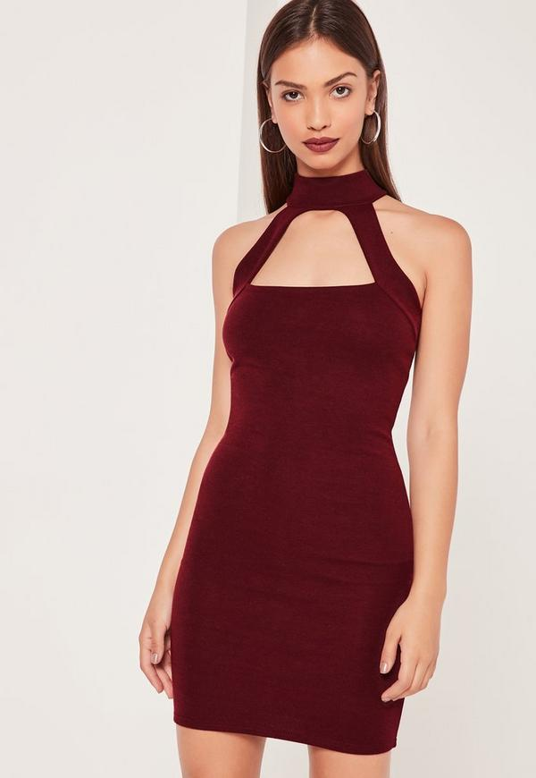Choker Ponte Bodycon Dress Burgundy