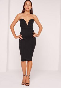 Scuba Plunge Bandeau Midi Dress Black