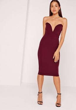 Scuba Plunge Bandeau Midi Dress Burgundy