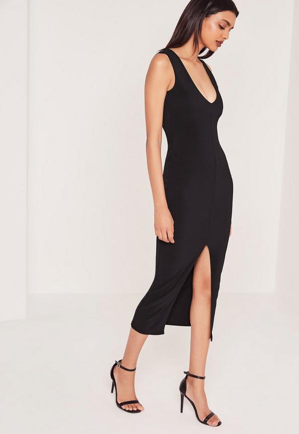 Plunge Front Split Midi Dress Black