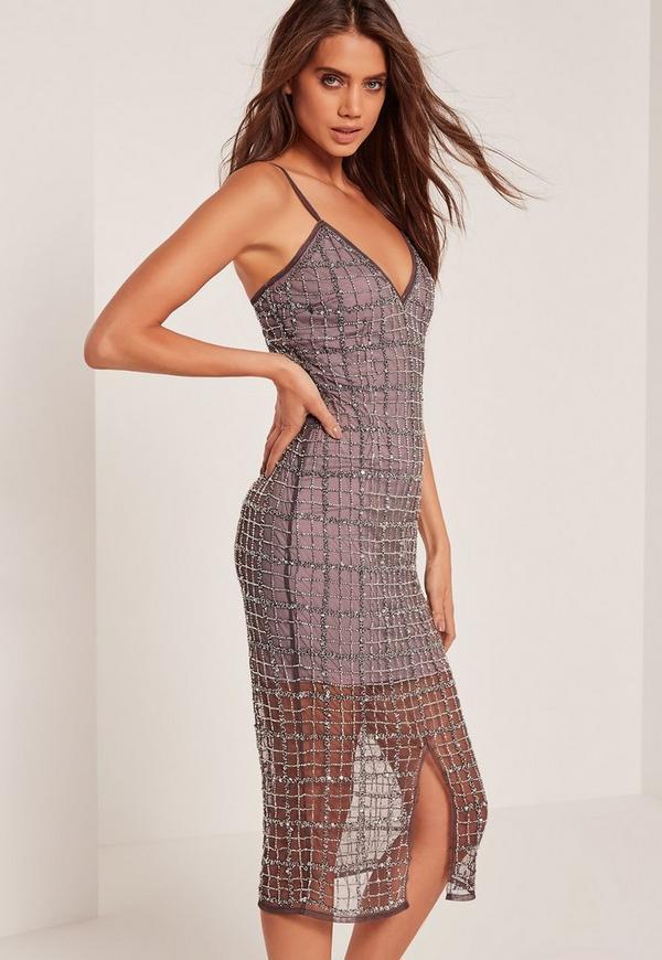 Premium Grid Embellished Midi Dress Purple