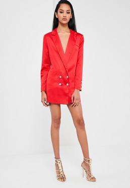 Peace + Love lässiges Satin Blazer Kleid mit Knopfleiste in Rot