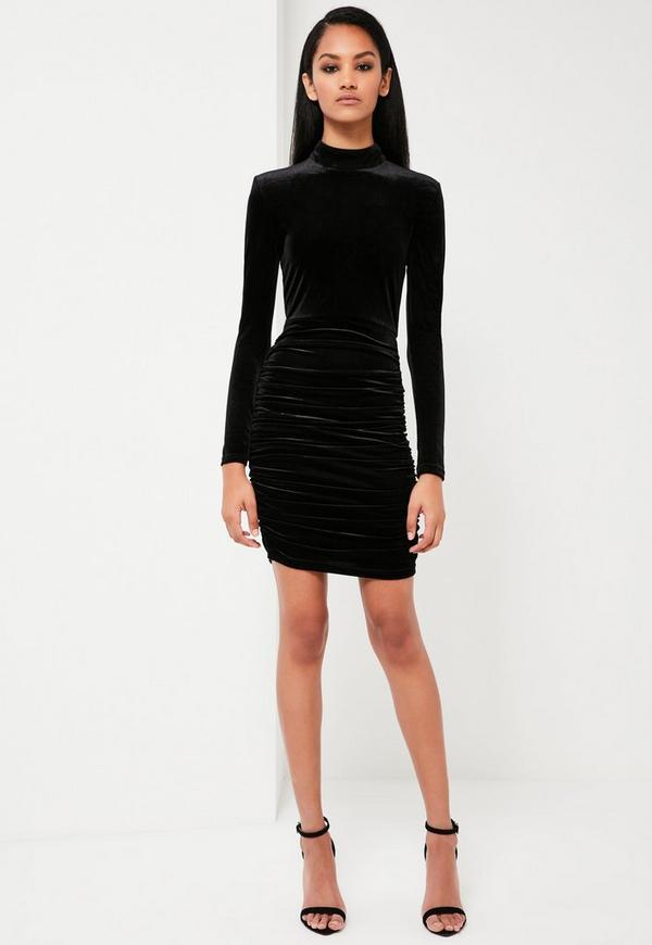 Peace + Love Black Velvet Ruched Mini Dress