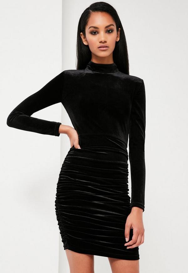 robe courte fronc e noire en velours peace love missguided. Black Bedroom Furniture Sets. Home Design Ideas