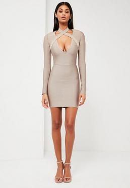 Liliowa bandażowa sukienka mini z modnymi paskami na dekolcie Peace + Love
