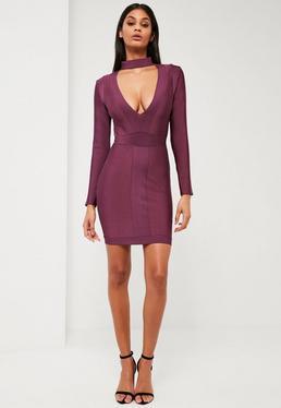Peace + Love Purple Premium Bandage Choker Neck Dress