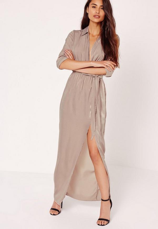 Satin Wrap Collar Maxi Dress Grey