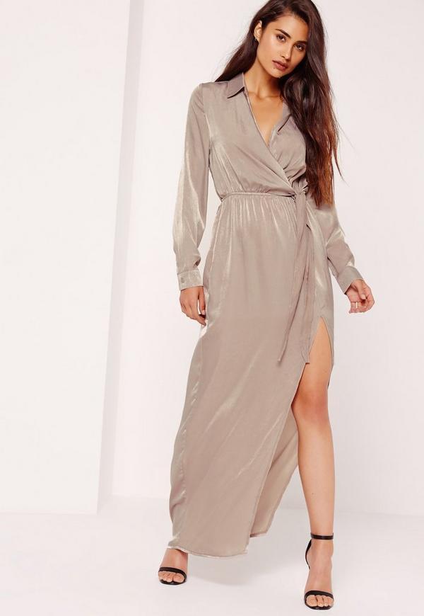 robe portefeuille longue grise en satin missguided. Black Bedroom Furniture Sets. Home Design Ideas
