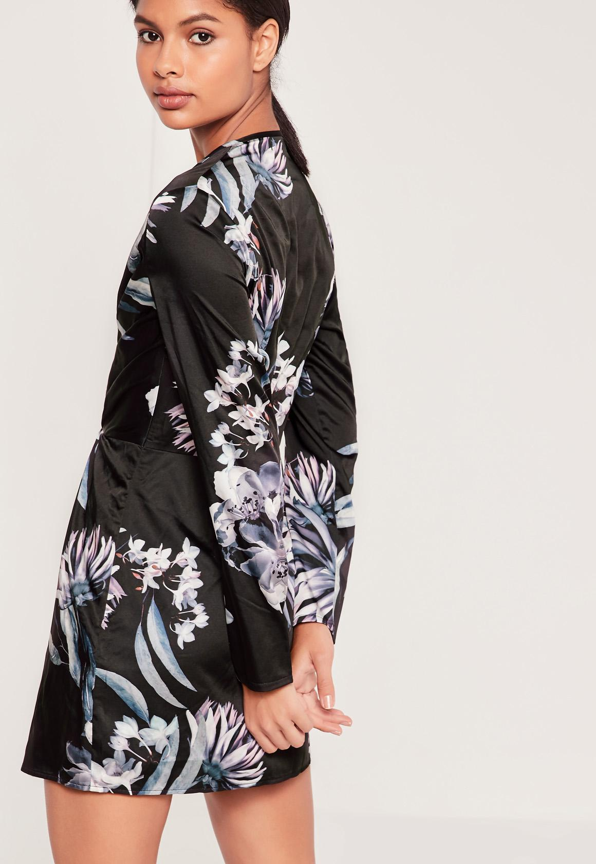 Silky Wrap Dress Floral