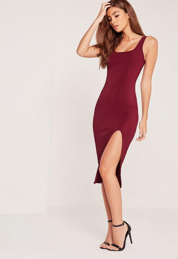 Split Front Ribbed Midi Dress Burgundy