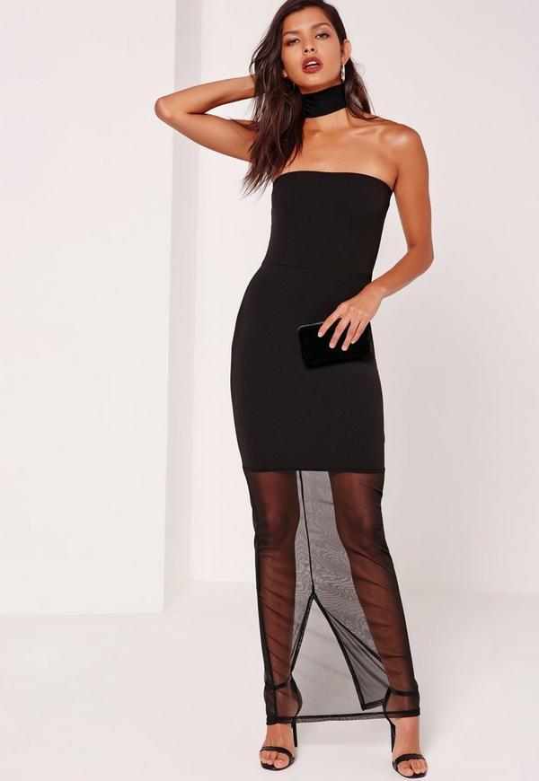 Bandeau Mesh Hem Maxi Dress Black