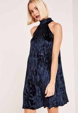 Navy High Neck Pleated Velvet Swing Dress