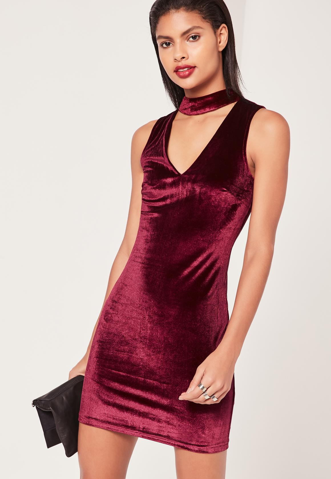 1b2767051676 Sleeveless Choker Neck Velvet Bodycon Dress Purple