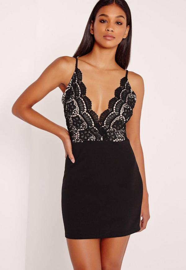 Strappy Lace Top Contrast Bodycon Dress Black