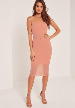 Bandeau Mesh Panel Midi Dress Pink