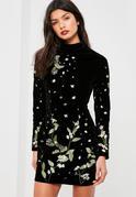 Black Velvet Embroidered Bodycon Dress