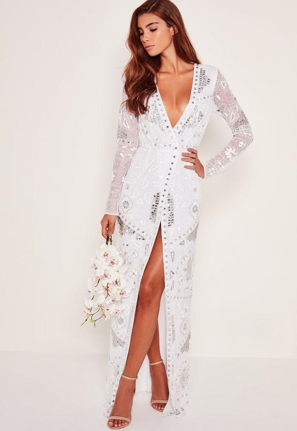 Bridal Sequin Wrap Maxi Dress White