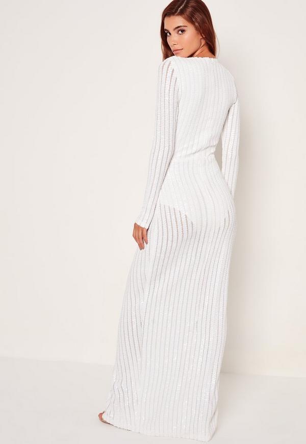 d3671572 Bridal Sequin Stripe Wrap Maxi Dress White | Missguided Australia
