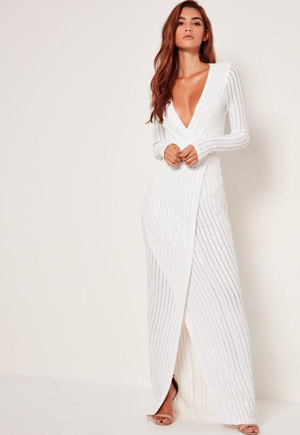 Bridal Sequin Stripe Wrap Maxi Dress White | Missguided