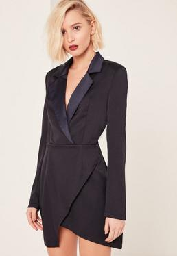 Navy Long Sleeve Plunge Blazer Dress