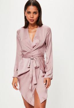Pink Long Sleeve Kimono Wrap Dress