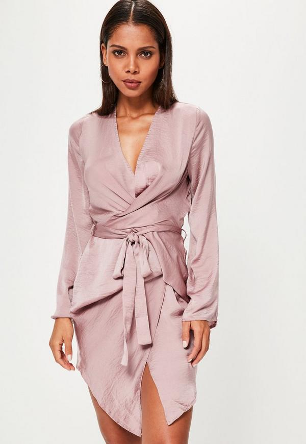 Pink Long Sleeve Kimono Wrap Dress
