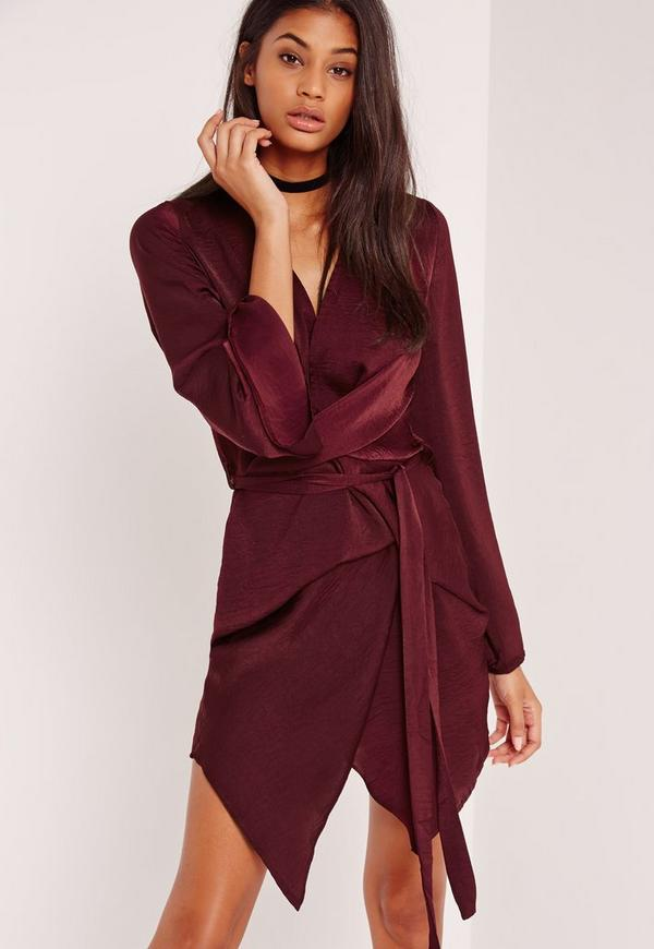 Long Sleeve Kimono Wrap Dress Burgundy