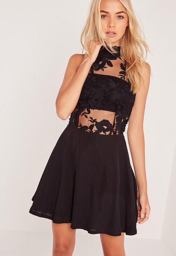 Lace Top Sleeveless Skater Dress Black