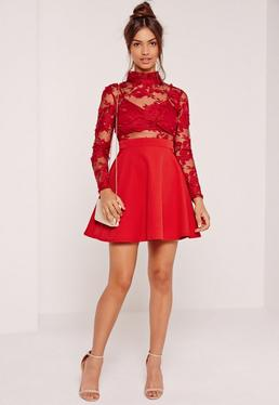 Lace Long Sleeve Skater Dress Red