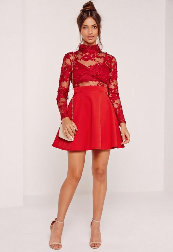 Lace Long Sleeve Skater Dress Red | Missguided