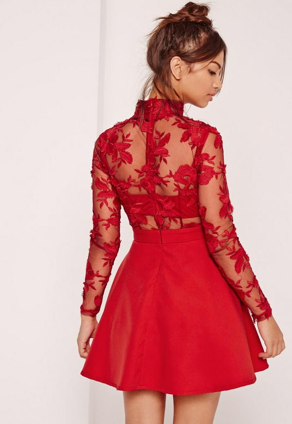 Long sleeve red dress lace
