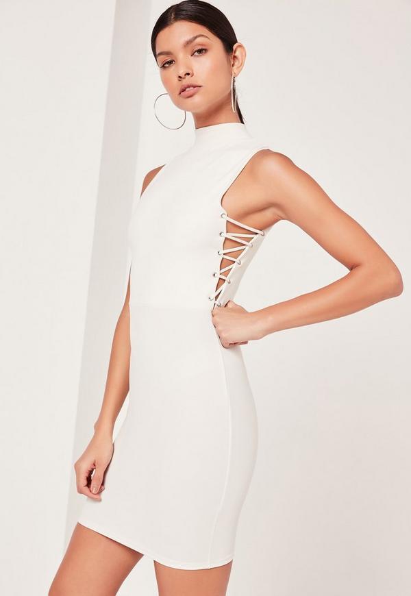 Lace Up Side Sleeveless Mini Dress Black