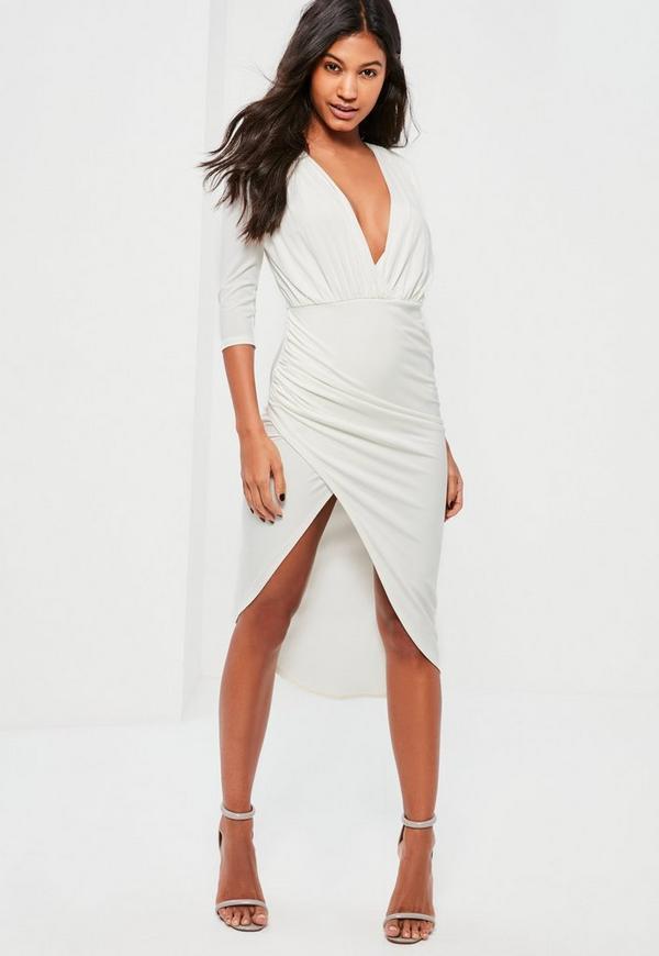 White Slinky Wrap Asymmetric Dress